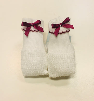 Paty Booties-White w/Maroon Trim & Maroon Bows