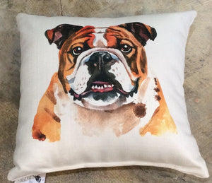 Pillow-Watercolor Bulldog Portrait