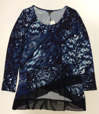 Navy/Blue Pattern Hi-Lo Top