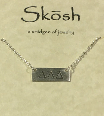 Delta Delta Delta-Sorority Bar Necklace-Silver