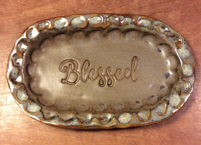 Mocha Small Oval Tray w/Blessed
