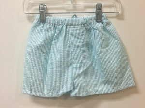Mint-Seersucker Pull on Shorts