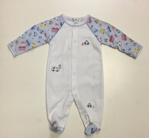 Kissy Kissy-Baby Boys Footie-City Slickers-Lt. Blue