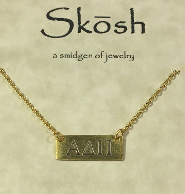 Alpha Delta Pi-Sorority Bar Necklace-Gold