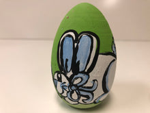 Load image into Gallery viewer, Painted Wooden Easter Egg-Large Blue Bunny