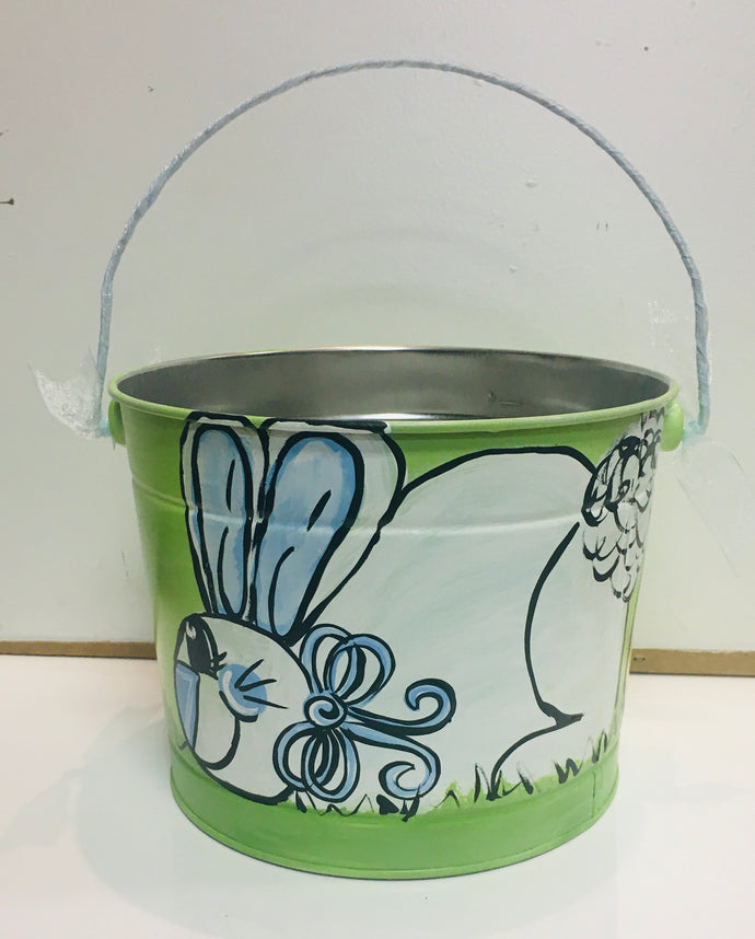 Painted Easter Bucket-Green w/Large Bunny