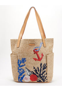 VB Beach-North South Straw Beach Tote