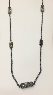Diana Warner-Gunmetal Layering Necklace w/ Swarovski