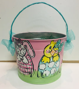Painted Easter Bucket-Pink w/Bunny & Chick