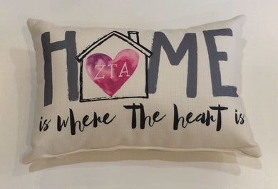 Zeta Tau Alpha-Home is Where the Heart Pillow