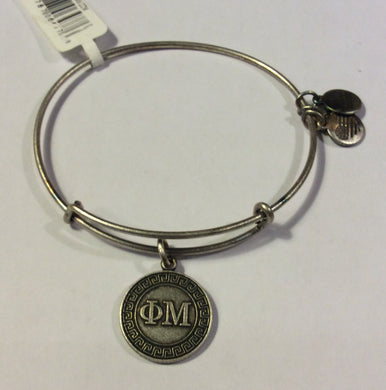 Phi Mu-Sorority Charm Bangle-Silver