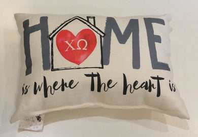 Chi Omega-Home is Where the Heart Pillow