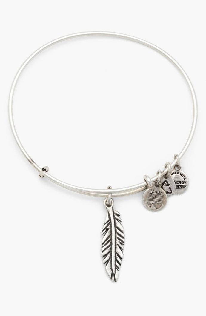 Small Feather Bangle-Silver