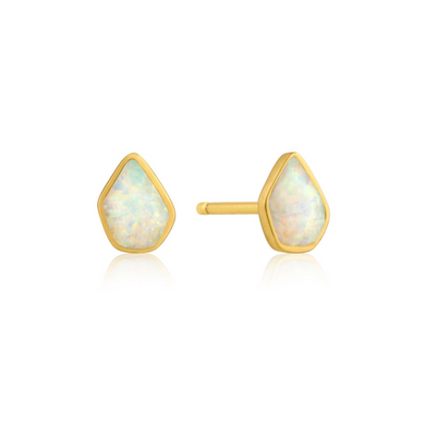Opal Colour Stud Earrings-Gold