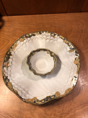 Ivory Linen Chip & Dip Dish
