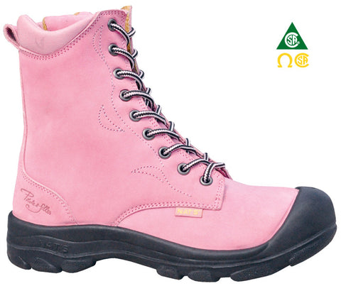 Driver - Girls S558 Work Boot 8'' ROSE for Women laced pink Safety Boots zipper - Coordinator's Shop