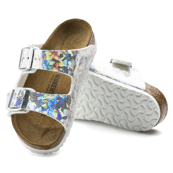 Birkenstock Arizona 1008097 Hologram Silver Birko Flor Largeur Narrow child - Boutique of the Shoemaker