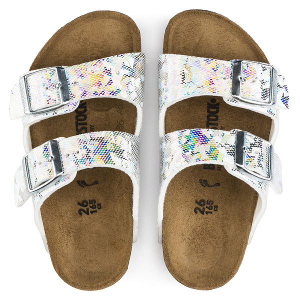 Birkenstock Arizona 1008097 Hologram Silver Birko Flor Narrow Width Child - Coordinator Shop