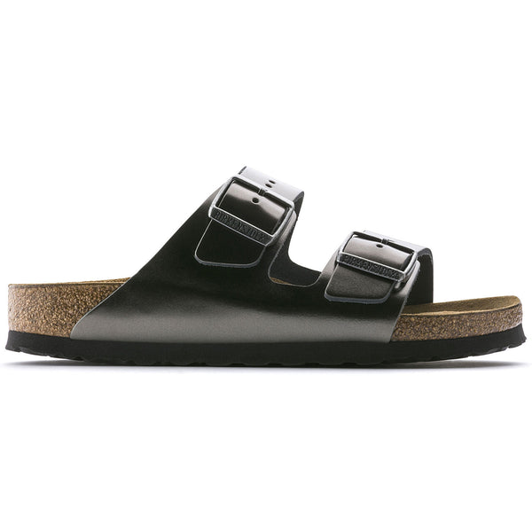 Narrow BIRKENSTOCK ARIZONA SOFT 1000295 METALLIC ANTHRACITE LEATHER BREADTH - Boutique of the Shoemaker