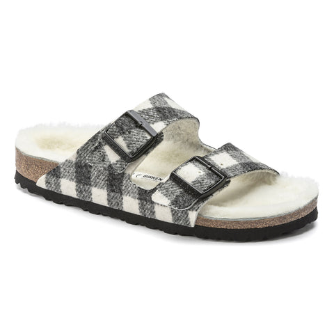 Birkenstock ARIZONA SHEARLING 1018114 Plaid White wool Genuine Shearling Narrow Width - Boutique du Cordonnier