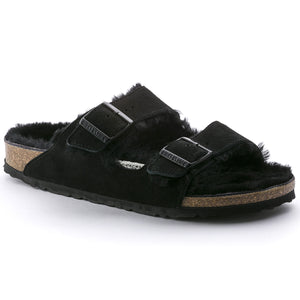 Birkenstock ARIZONA SHEARLING 752663 Black Suede Genuine Shearling Narrow Width - Boutique du Cordonnier