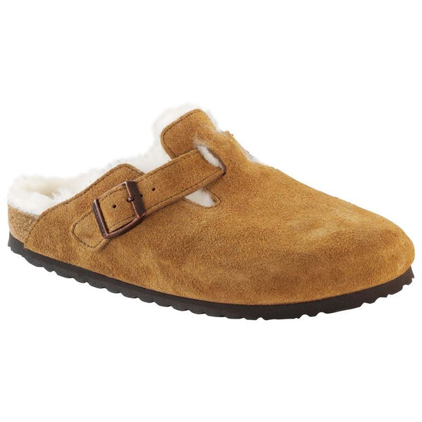 Birkenstock BOSTON FELL 1001141 Mink Suede Sherling Peau de mouton Largeur étroit - Boutique du Cordonnier