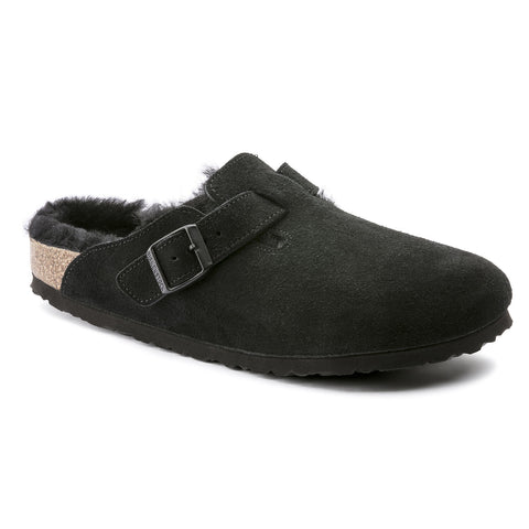 Birkenstock BOSTON SHEARLING 259881 Black Suede Genuine Shearling Regular Width - Boutique du Cordonnier