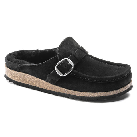 Birkenstock BUCKLEY SHEARLING 1018126 Black Suede Women Orthopedic Clog Narrow Width - Boutique du Cordonnier