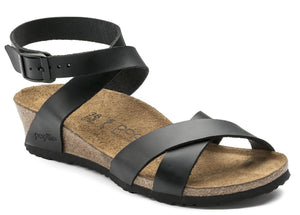 Birkenstock Papillio LOLA 1013160 Black Leather Wedge Heel for Women Narrow Width - Boutique du Cordonnier