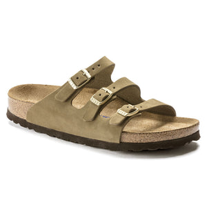 Birkenstock FLORIDA FRESH Soft Footbed 1018760 Faded Khaki Nubuck Regular Width - Boutique du Cordonnier