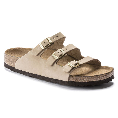 Birkenstock FLORIDA FRESH Soft Footbed 1018762 Sandcastle Nubuck Regular Width - Boutique du Cordonnier