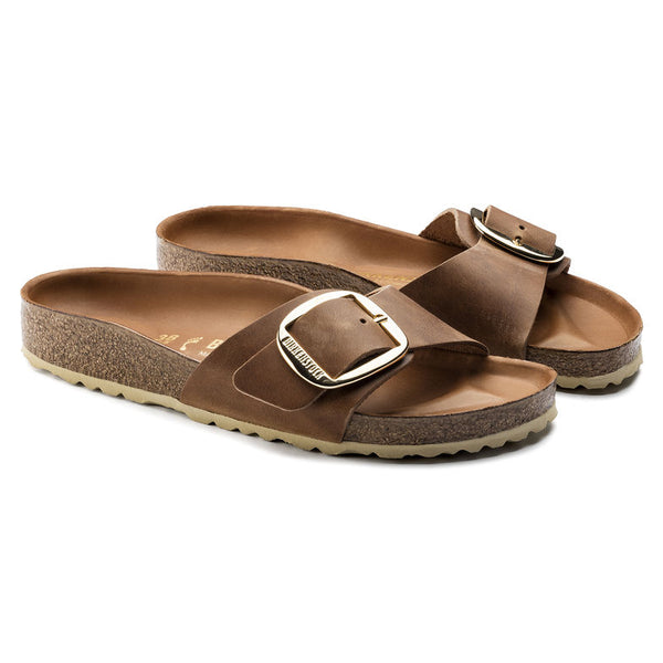 Birkenstock Madrid Big Buckle 1006525 Cognac Cuir Largeur Étroite