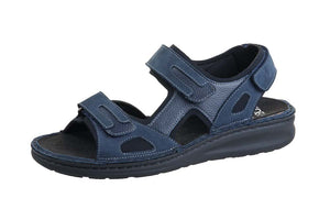 Fidelio 366028-19 Navy Sandal works for men with removable footbed - Shop of the Shoemaker