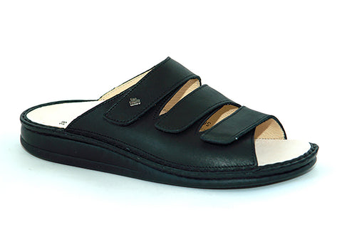 Finn Comfort KORFU-SOFT 81508-014099 Black Nappa Orthopaedic Sandals with Removable Footbed - Boutique du Cordonnier