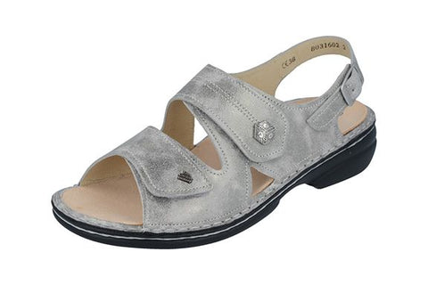 Finn Comfort MILOS 2560-675362 Silver Marley Orthopedic Sandal with Removable Footbed - Boutique du Cordonnier