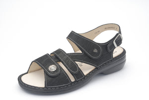 Finn Comfort Gomera 2562-589099 Black Orthopedic Sandal with Removable Sole - Boutique of the Shoemaker