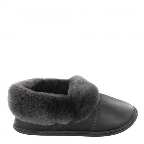 Garneau LAZYBONE LEATHER Black Silverfox Sheepskin Men's Slippers - Boutique du Cordonnier