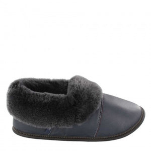 Garneau LEATHER LAZYBONE Silverfox Sheepskin Navy Men's Slippers with EVA Outsole - Boutique du Cordonnier