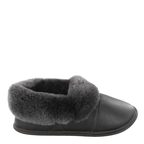 Garneau LEATHER LAZYBONE Silverfox Sheepskin Men's Black Leather Slippers with EVA Outsole - Boutique du Cordonnier