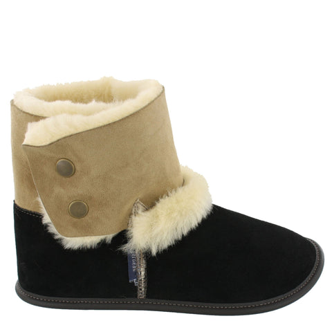 Garneau REVERSED SHEEPSKIN BOOTIE SLIPPERS Black for Women-Boutique du Cordonnier