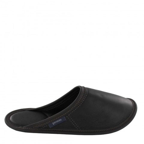 Slippers Garneau OF STYLE FEMALE MULE ANY Black LEATHER for Men - Boutique of the Shoemaker