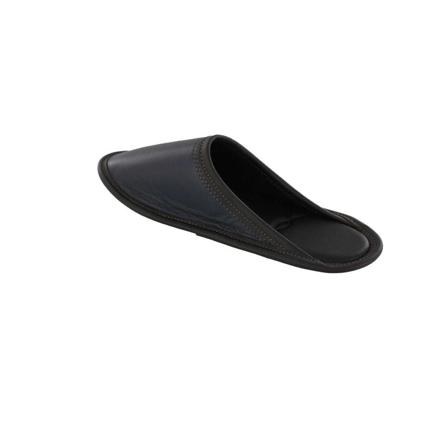 Garneau slippers OF STYLE MULE ALL CUIR Marine for Men - Shoemaker Shop