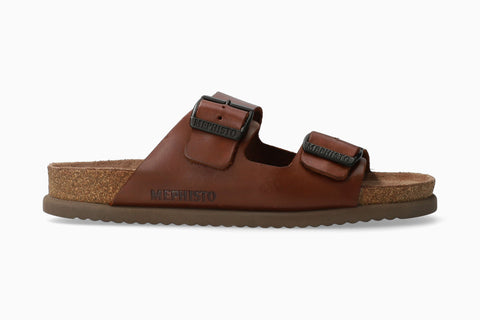 Mephisto NERIO Chestnut Oiled Leather 3478 Orthopaedic Men Sandals - Boutique du Cordonnier
