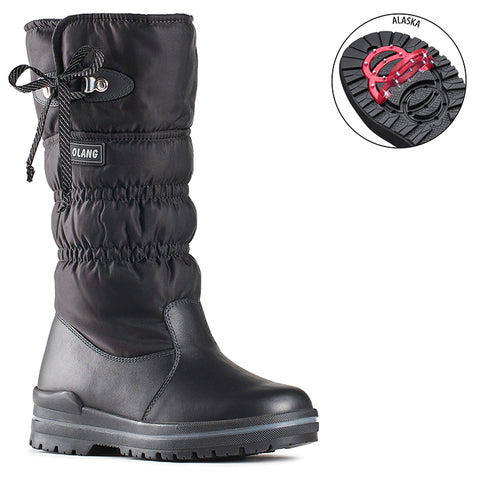 Olang ASTRA NERO Winter boot with folding cleats for women - Boutique du Cordonnier