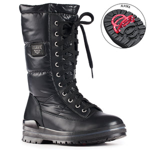 Olang GLAMOUR NERO Botte d'hiver à crampons rabattables pour femmes the winter boot with pivoting grip, designed to increase traction on ice and snow