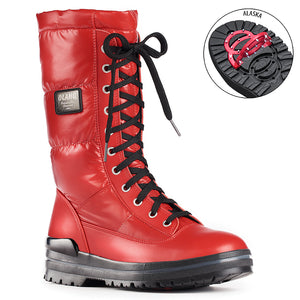 Olang GLAMOUR ROSSO Botte d'hiver à crampons rabattables pour femmes the winter boot with pivoting grip, designed to increase traction on ice and snow