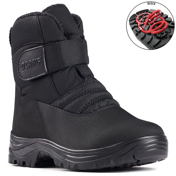 Olang Kiev Noir Homme Botte avec crampon rabattable Winter Boot with pivoting GRIP Black Men