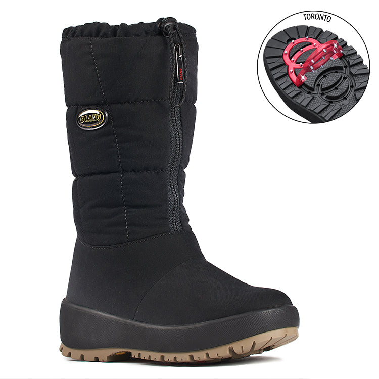 Olang ZILLER NERO Botte d'hiver à crampons rabattables pour femmes the winter boot with pivoting grip, designed to increase traction on ice and snow