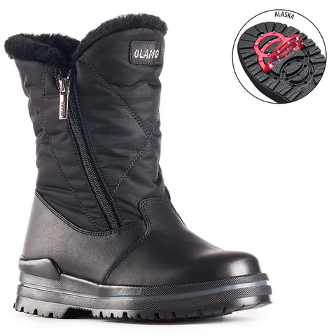 Olang CARLA NERO Winter Boots with pivoting GRIPS - Boutique du Cordonnier