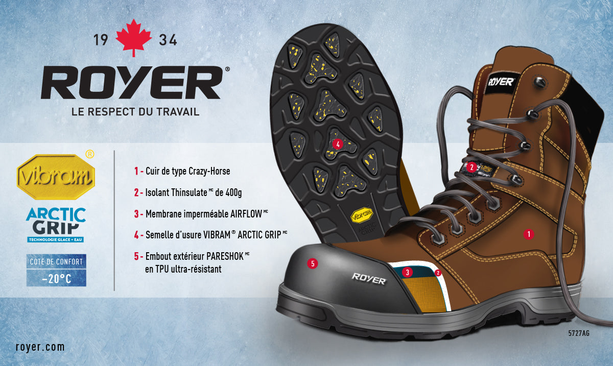 02c9b374d5f Royer 5727AG AGILITY ARTIC GRIP Brown Boot working, METAL-Insulated -20C  Metal Free Safety Boots Assembled in Canada